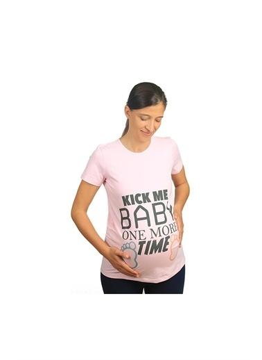 Mummy's Baby Mummy's Baby Hamile Tişört Kick Me Baby Siyah Pembe